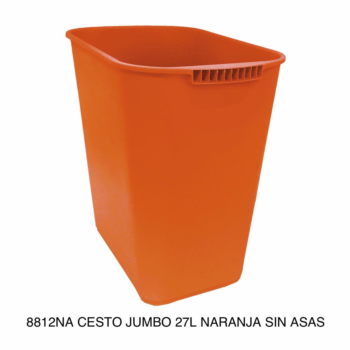 Bote de basura jumbo modelo 8812NA color naranja sin asas de Sablón