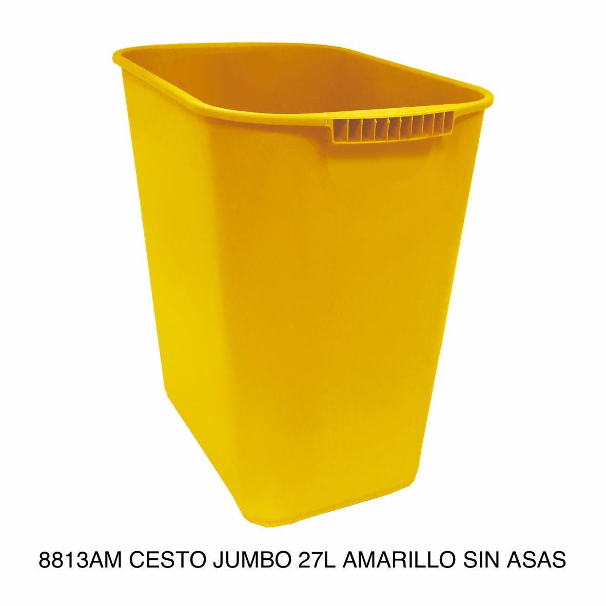 Bote de basura jumbo modelo 8813AM color amarillo sin asas de Sablón