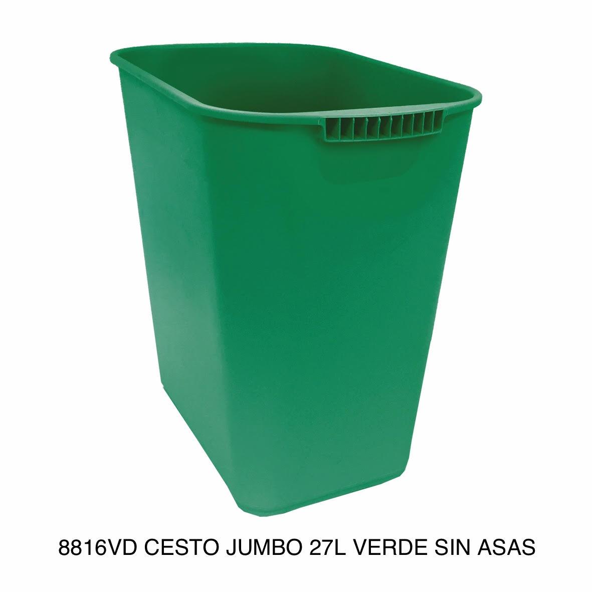Bote de basura jumbo modelo 8816VD color verde sin asas de Sablón