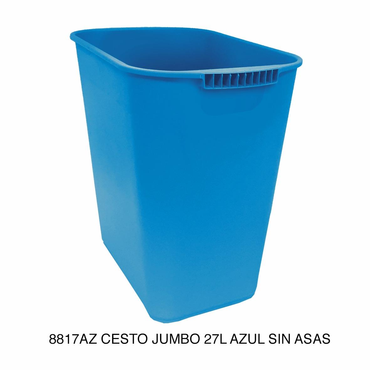 Bote de basura jumbo modelo 8817AZ color gris sin asas de Sablón