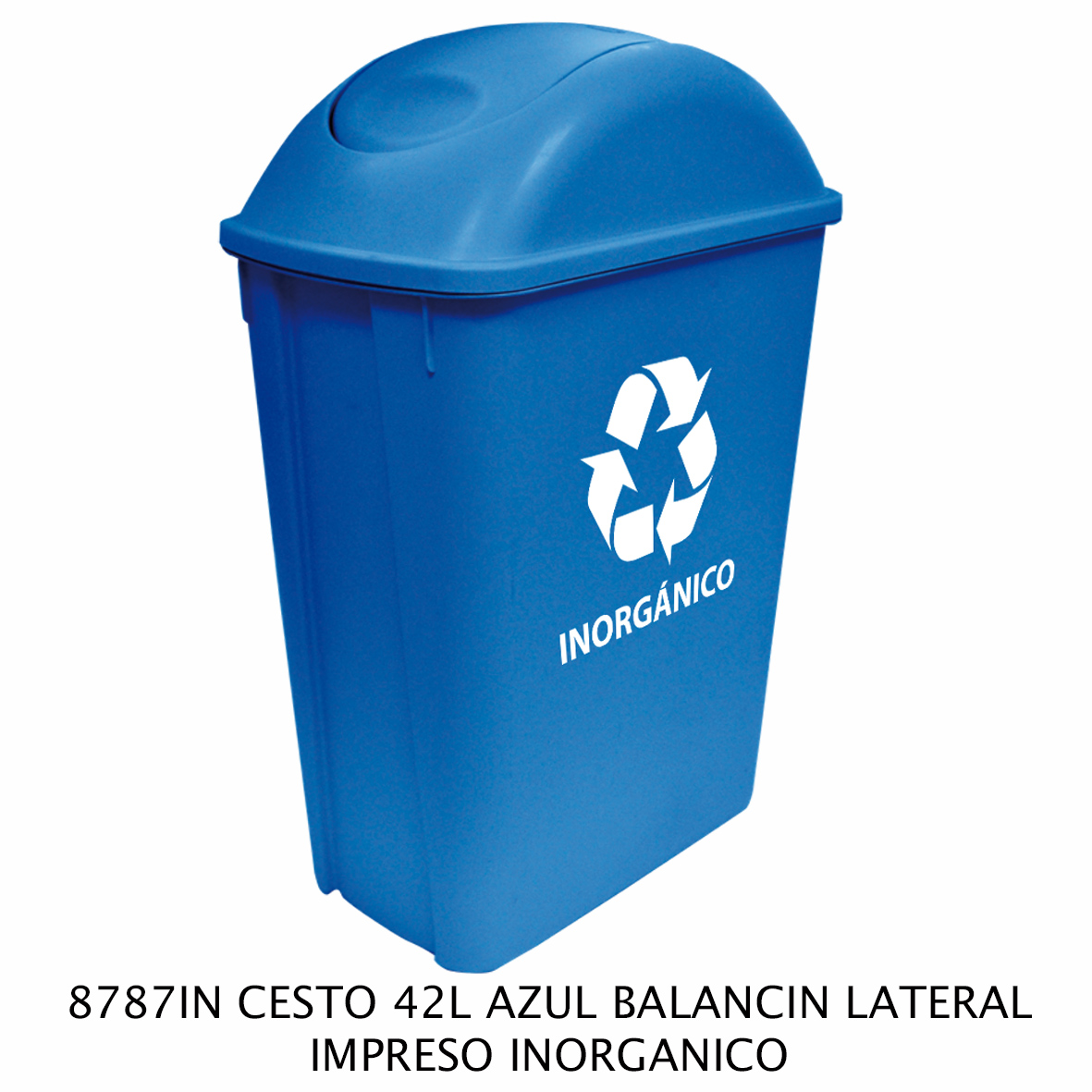 Bote de basura mediano de 42 litros con balancín lateral color azul modelo 8787IN impreso inorgánico de Sablón