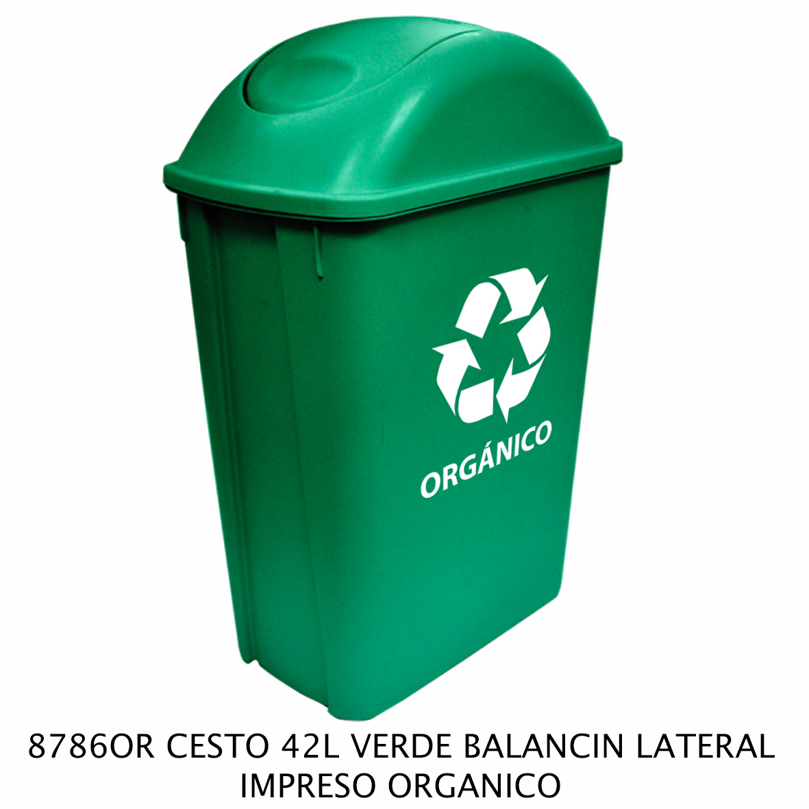 Bote de basura mediano de 42 litros con balancín lateral color verde modelo 8786OR impreso orgánico de Sablón