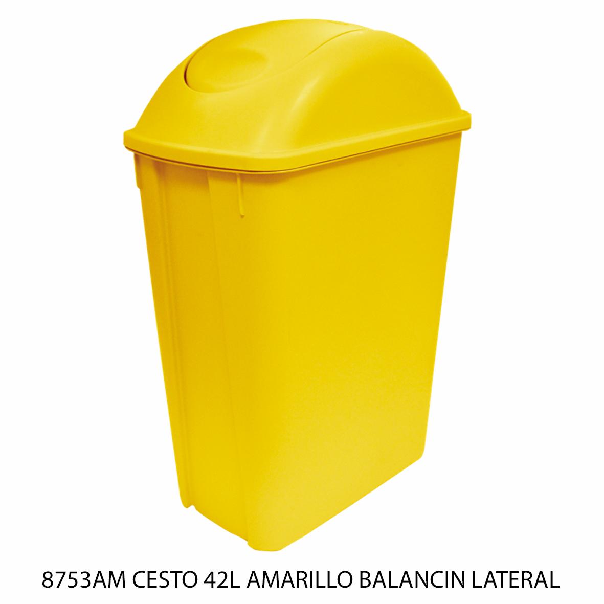 Bote de basura mediano de 42 litros con balancín lateral color amarillo modelo 8753AM de Sablón