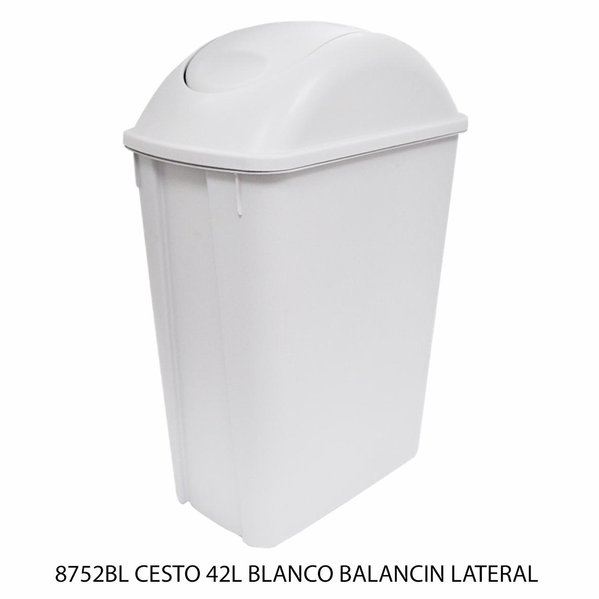 Bote de basura mediano de 42 litros con balancín lateral color blanco modelo 8752BL de Sablón