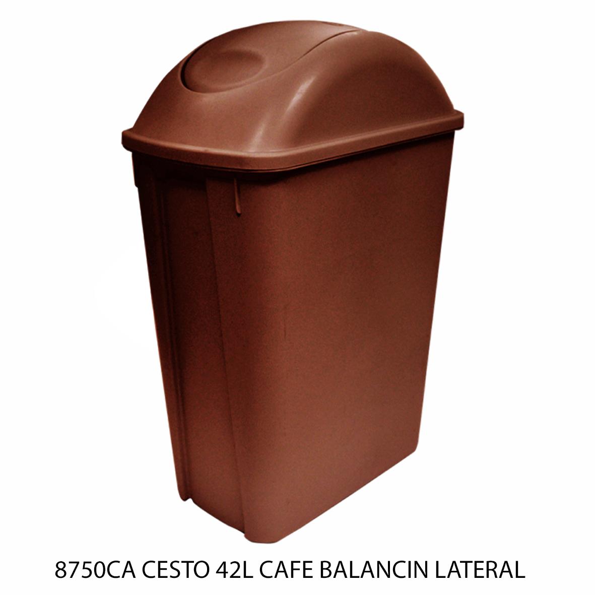 Bote de basura mediano de 42 litros con balancín lateral color café modelo 8750CA de Sablón