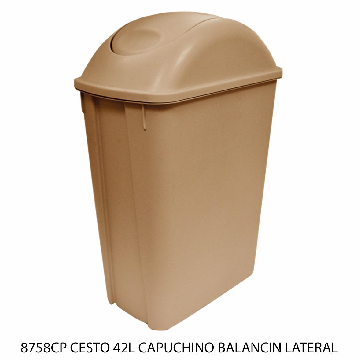 Bote de basura mediano de 42 litros con balancín lateral color capuchino modelo 8758CP de Sablón