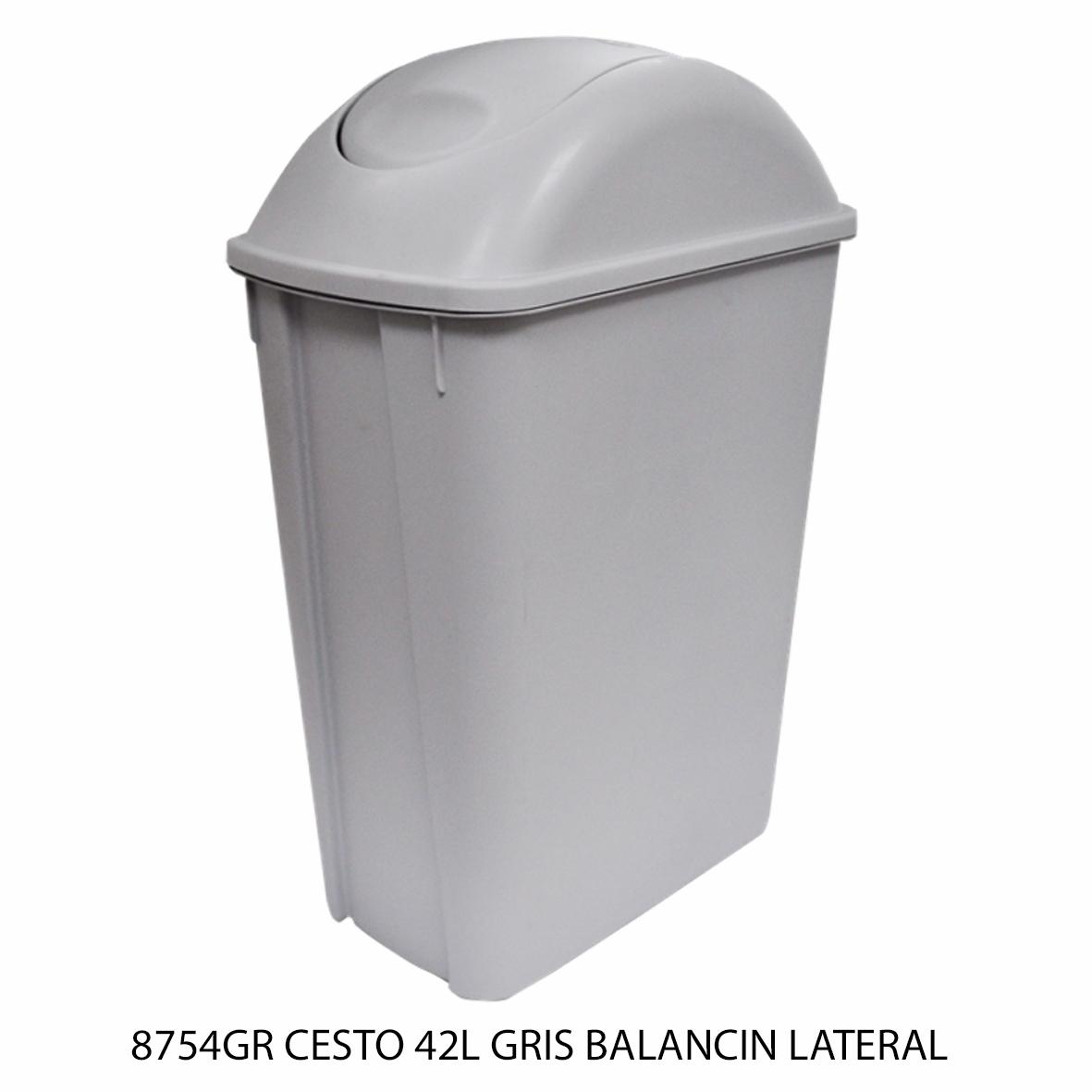 Bote de basura mediano de 42 litros con balancín lateral color gris modelo 8754GR de Sablón