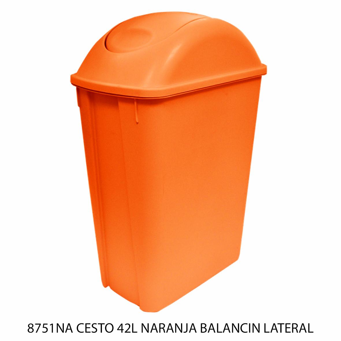 Bote de basura mediano de 42 litros con balancín lateral color naranja modelo 8751NA de Sablón