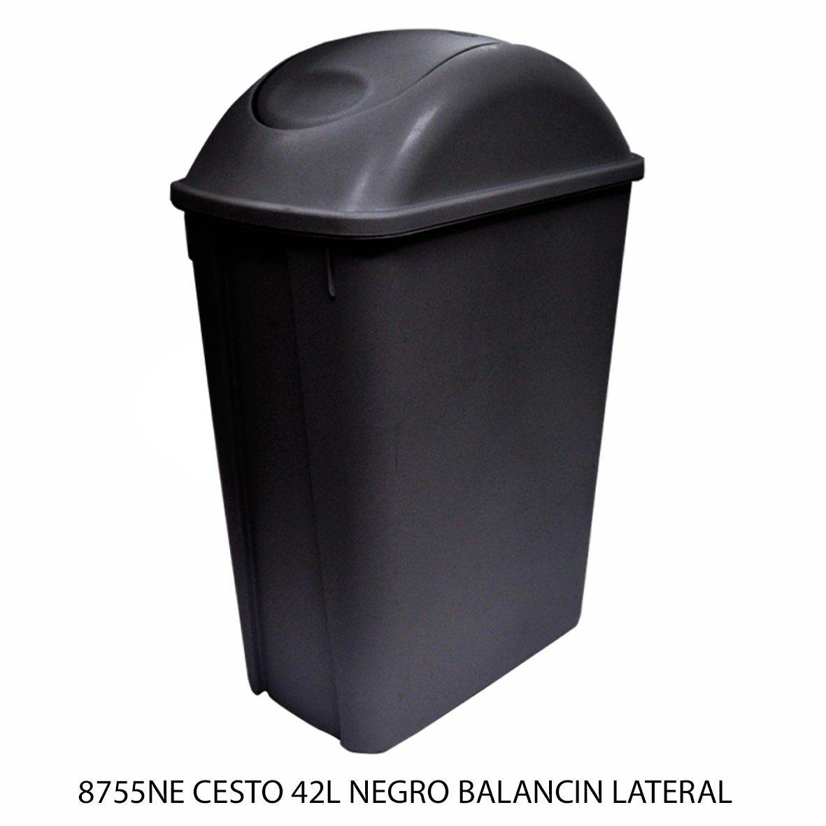 Bote de basura mediano de 42 litros con balancín lateral color negro modelo 8755NE de Sablón