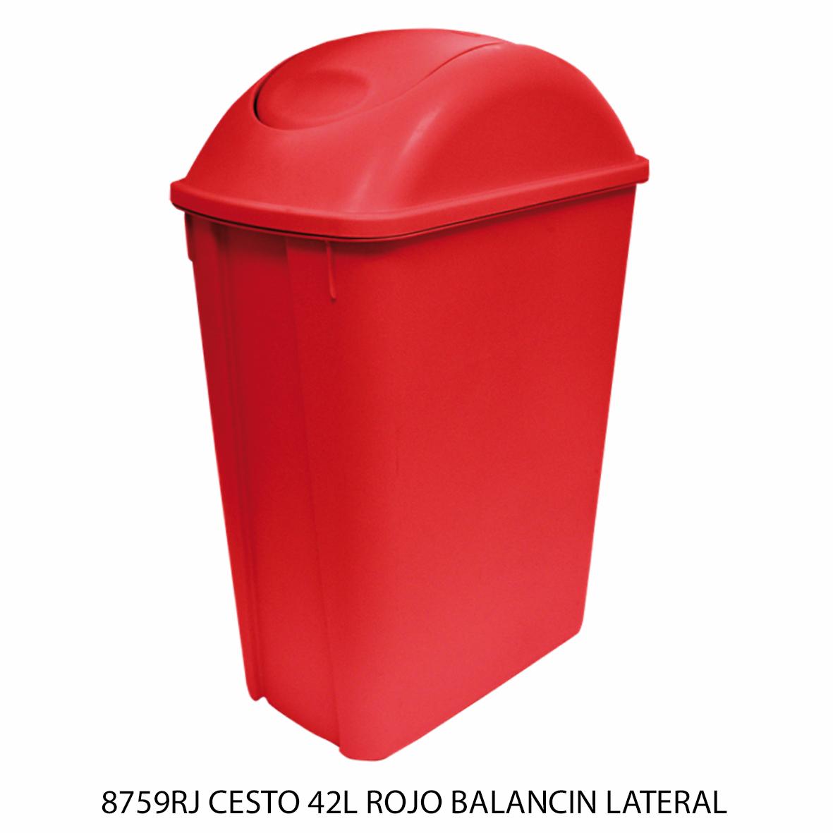 Bote de basura mediano de 42 litros con balancín lateral color rojo modelo 8759RJ de Sablón