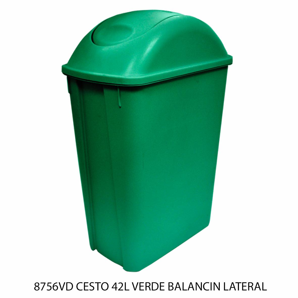 Bote de basura mediano de 42 litros con balancín lateral color verde modelo 8756VD de Sablón