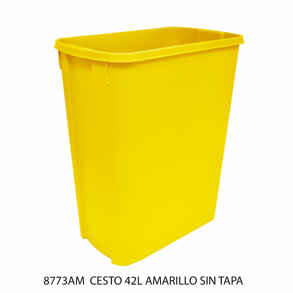 Bote de basura mediano de 42 litros sin tapa color amarillo modelo 8773AM de Sablón