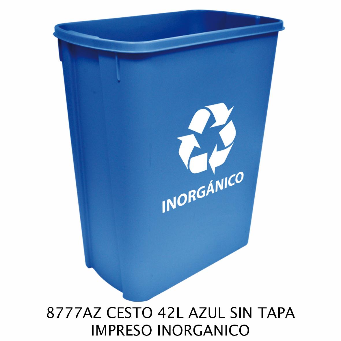 Bote de basura mediano de 42 litros sin tapa color azul modelo 8777AZ impreso inorgánico de Sablón