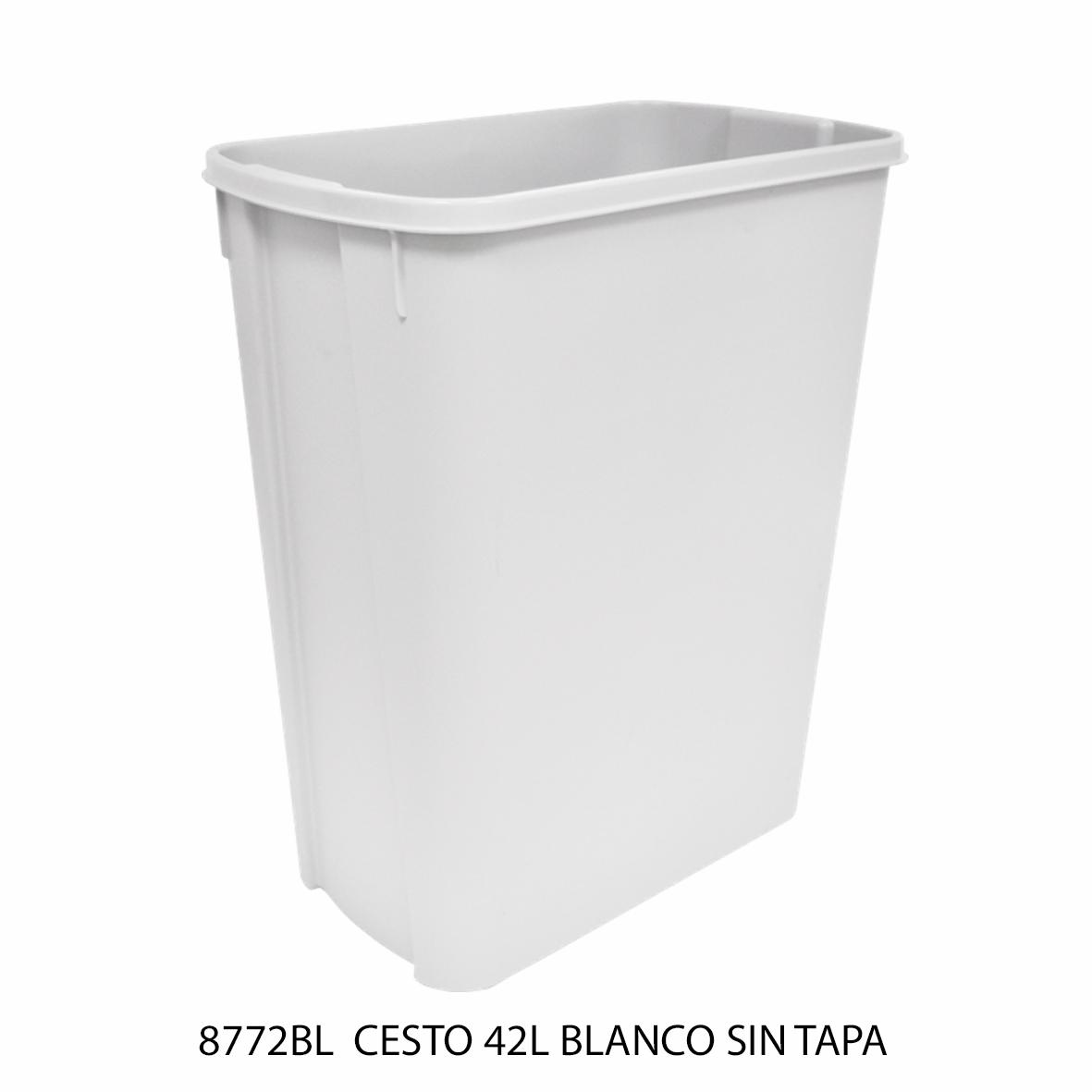 Bote de basura mediano de 42 litros sin tapa color blanco modelo 8772BL de Sablón