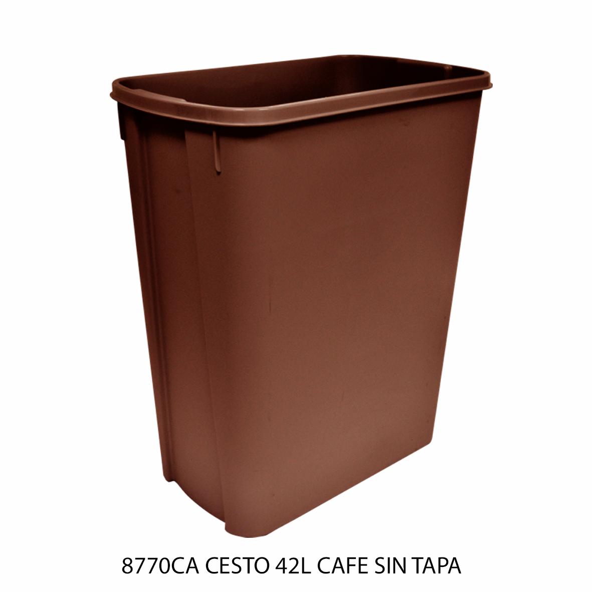 Bote de basura mediano de 42 litros sin tapa color café modelo 8770CA de Sablón