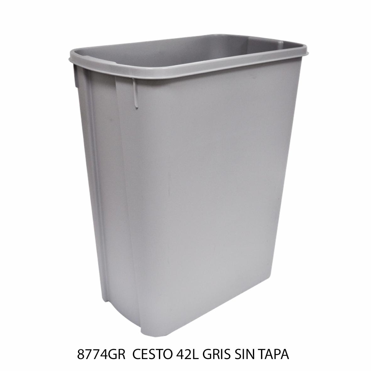 Bote de basura mediano de 42 litros sin tapa color gris modelo 8774GR de Sablón