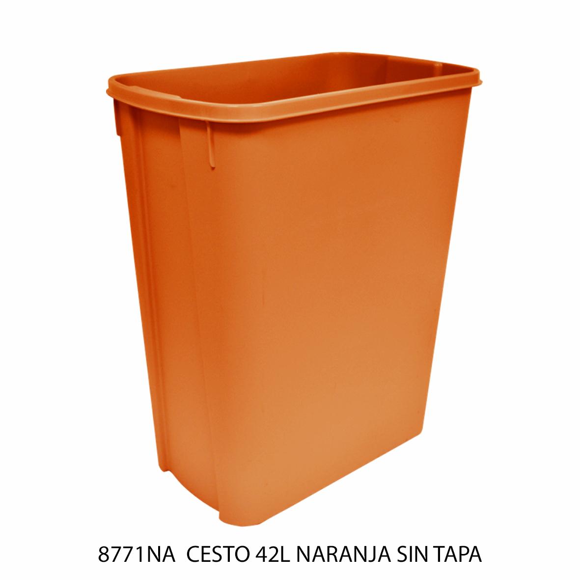 Bote de basura mediano de 42 litros sin tapa color naranja modelo 8771NA de Sablón