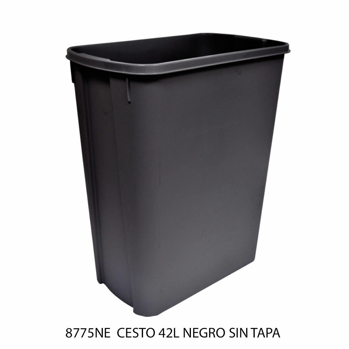 Bote de basura mediano de 42 litros sin tapa color negro modelo 8775NE de Sablón