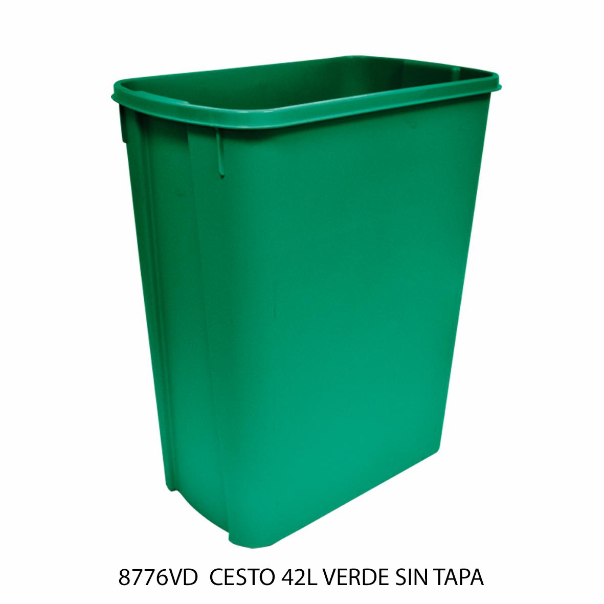 Bote de basura mediano de 42 litros sin tapa color verde modelo 8776VD de Sablón