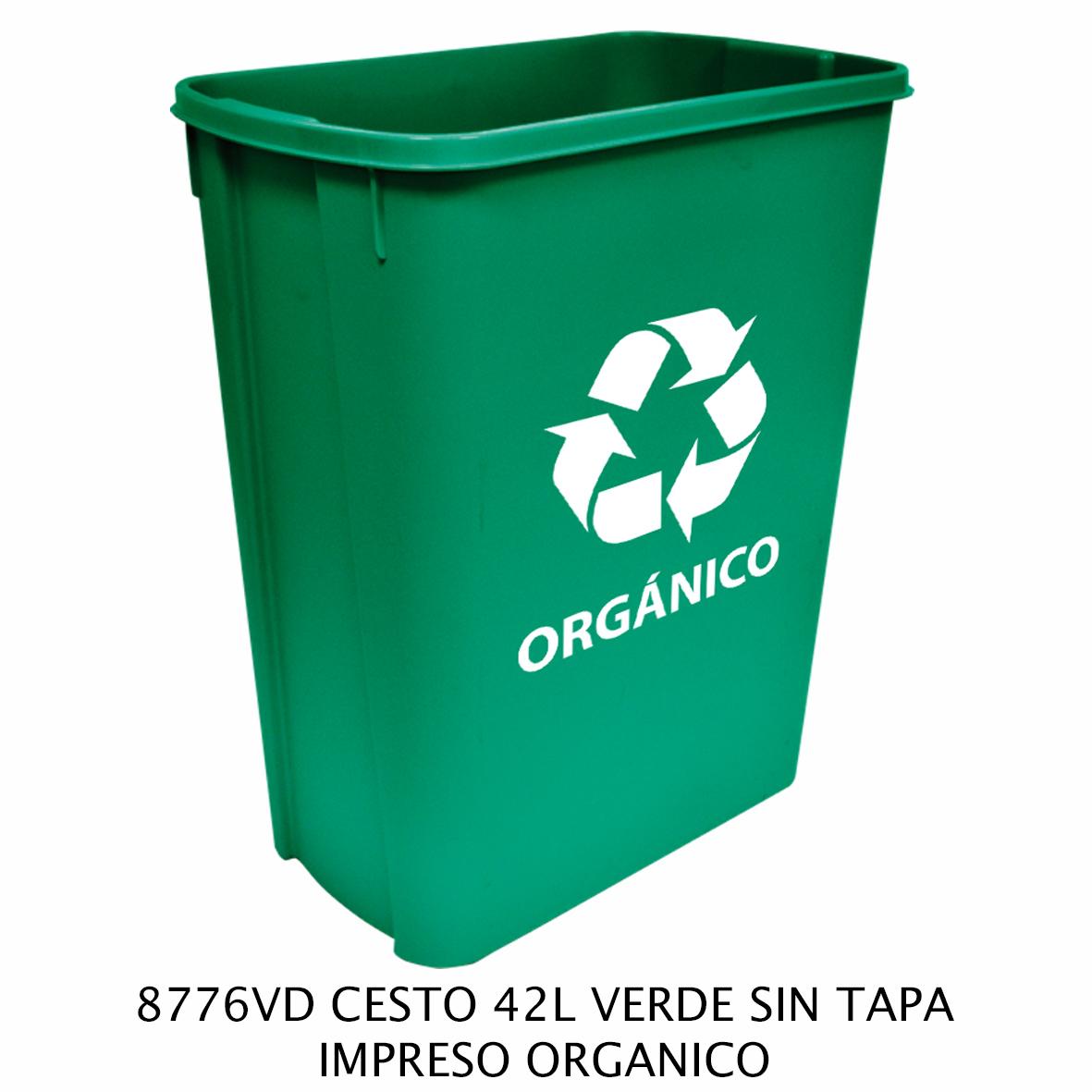 Bote de basura mediano de 42 litros sin tapa color verde modelo 8776VD impreso orgánico de Sablon