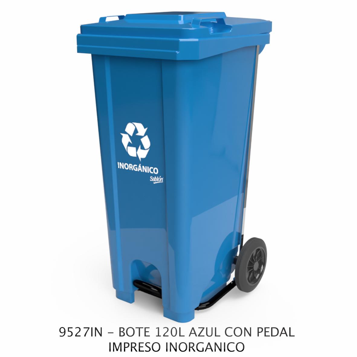 Bote de basura de 120 litros con pedal con impreso inorgánico color azul modelo 9527IN de Sablón