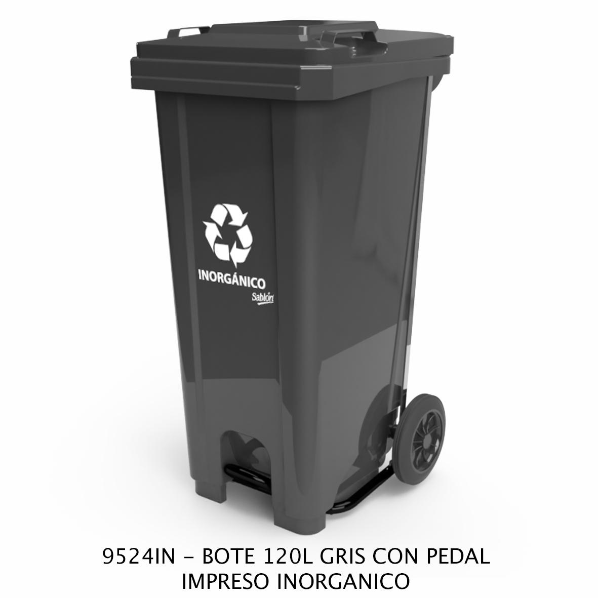 Bote de basura de 120 litros con pedal con impreso inorgánico color gris modelo 9524IN de Sablón