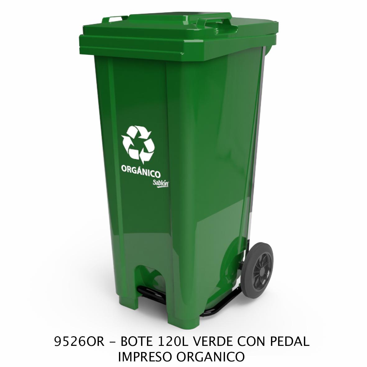 Bote de basura de 120 litros con pedal con impreso orgánico color verde modelo 9526OR de Sablón