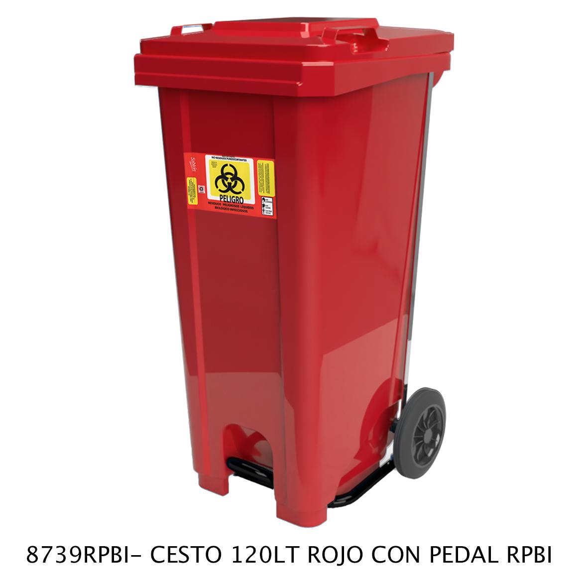 Bote de basura de 120 litros con pedal modelo 8129RPBI de Sablón
