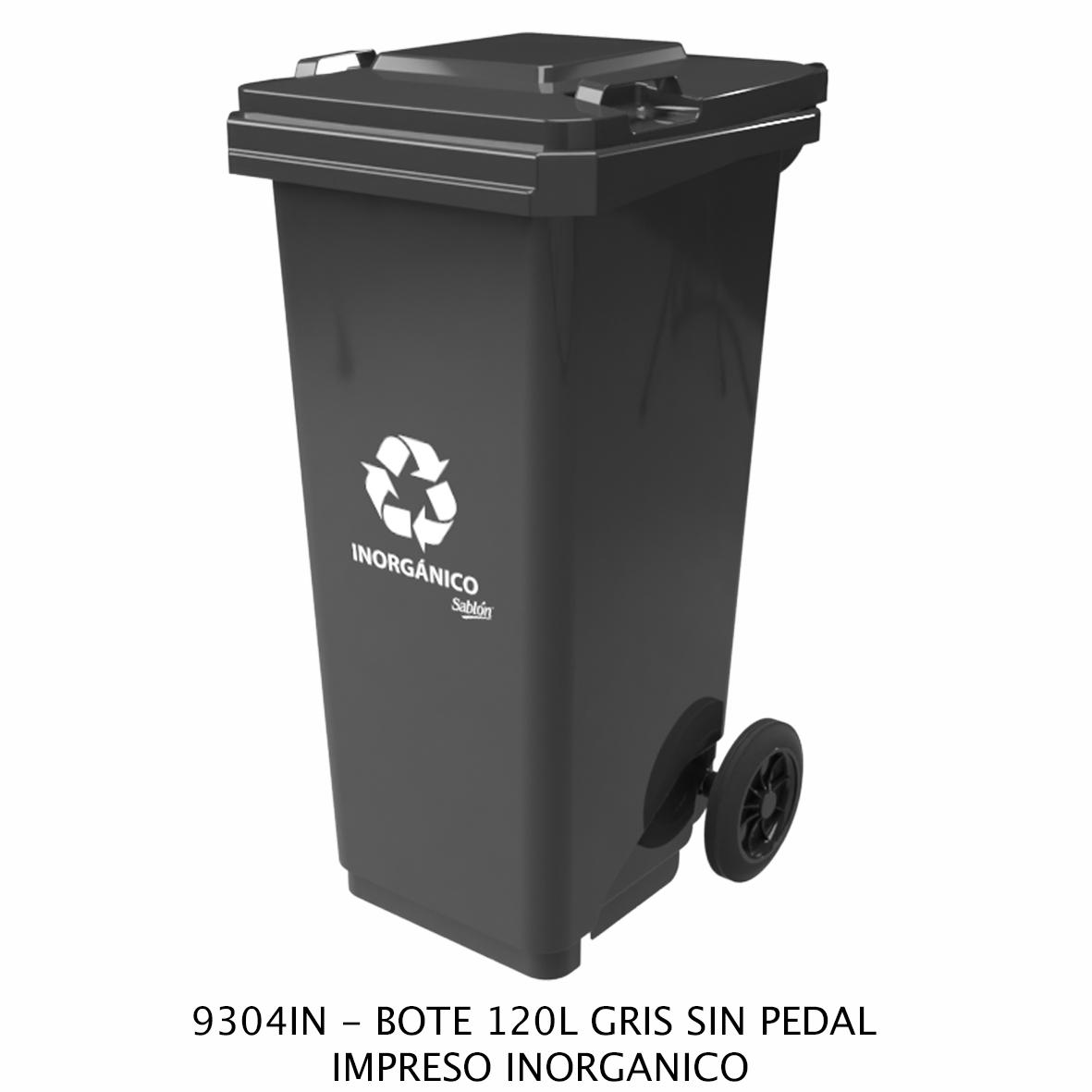 Bote de basura de 120 litros sin pedal con impreso inorgánico color gris modelo 9304IN de Sablón
