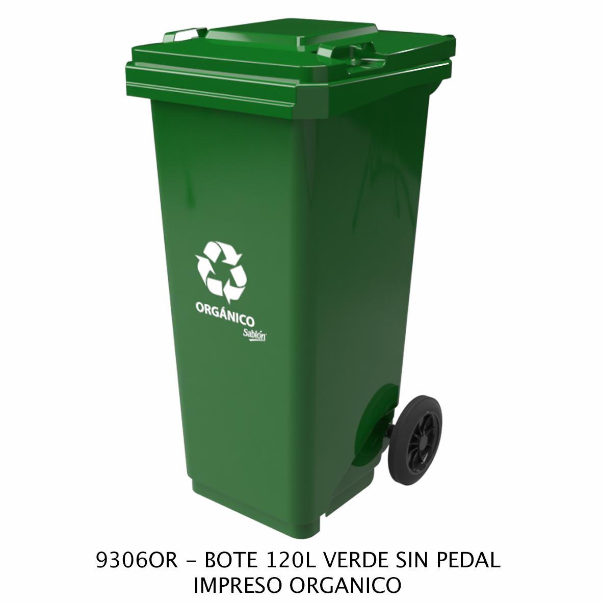 Bote de basura de 120 litros sin pedal con impreso orgánico color verde modelo 9306OR de Sablón