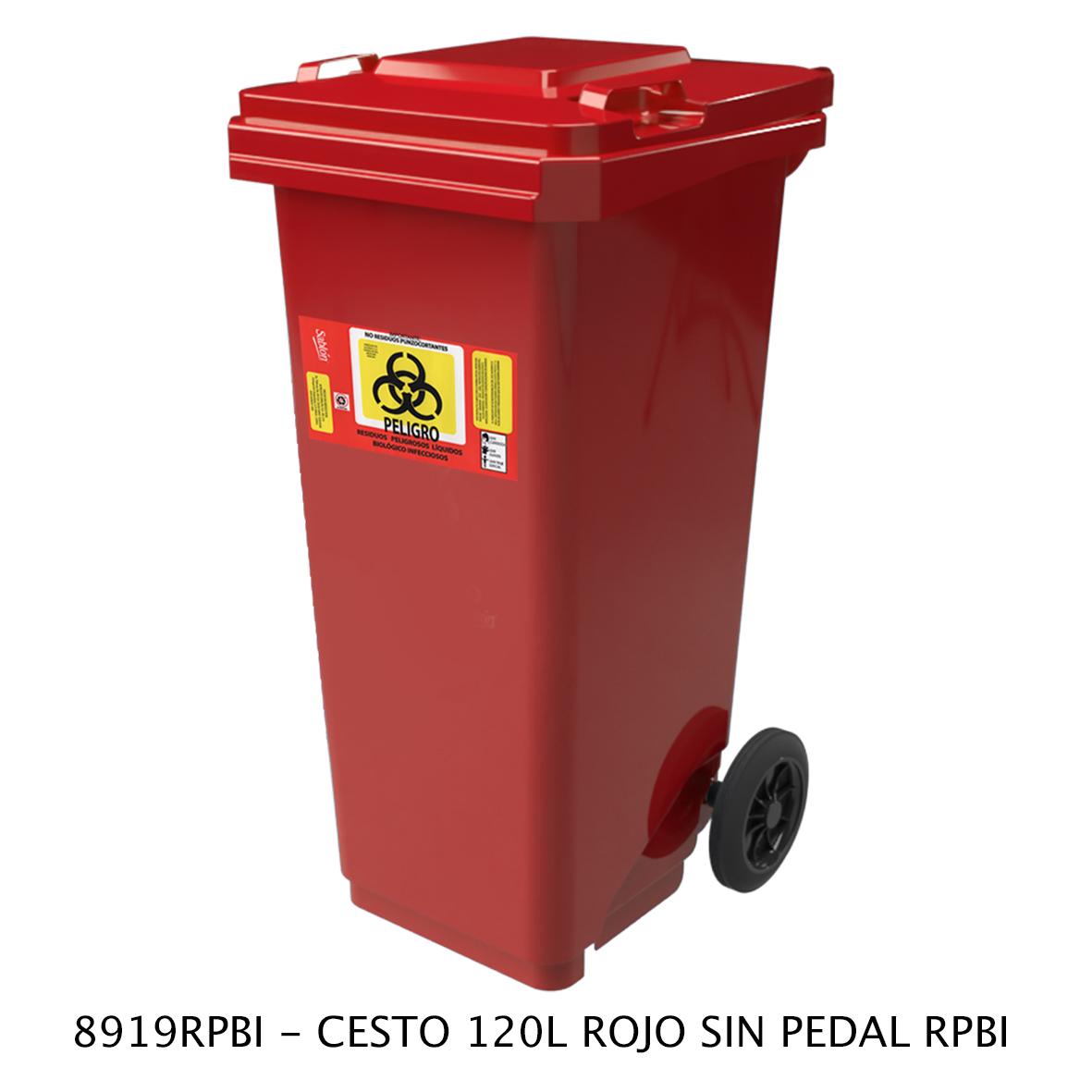 Bote de basura de 120 litros sin pedal modelo 8919RPBI de Sablón