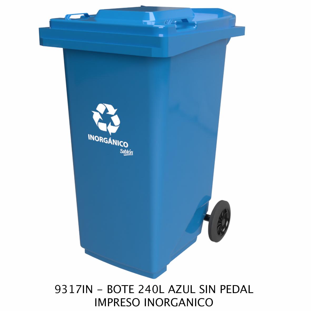 Bote de basura de 240 litros sin pedal con impreso inorgánico color azul modelo 9317IN de Sablón