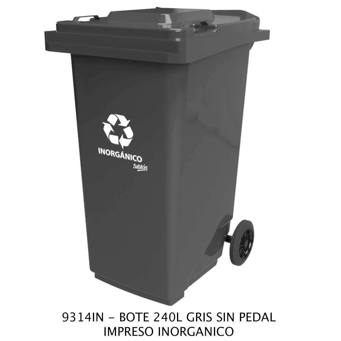 Bote de basura de 240 litros sin pedal con impreso inorgánico color gris modelo 9314IN de Sablón