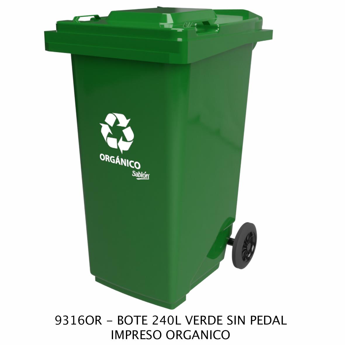 Bote de basura de 240 litros sin pedal con impreso orgánico color verde modelo 9316OR de Sablón