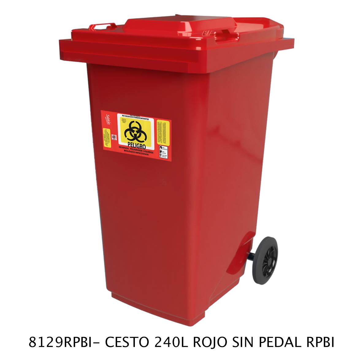 Bote de basura de 240 litros sin pedal modelo 8129RPBI de Sablón