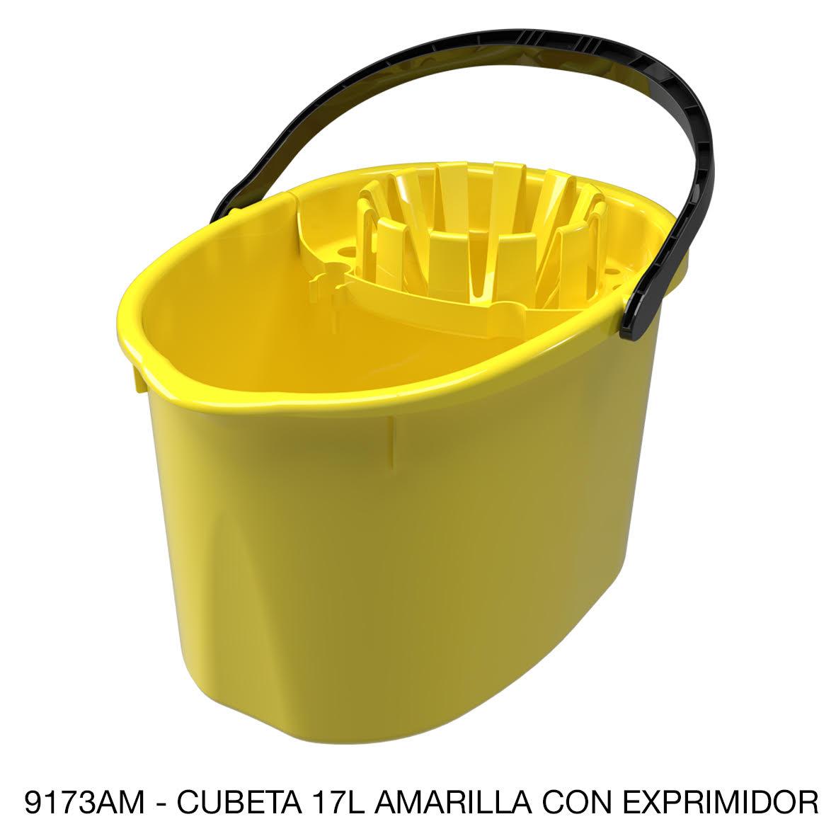 Cubeta de 17 litros con exprimidor color amarillo modelo 9173AM de Sablón