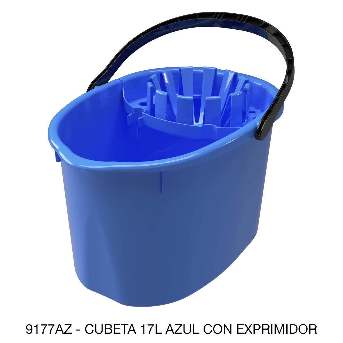 Cubeta de 17 litros con exprimidor color azul modelo 9177AZ de Sablón