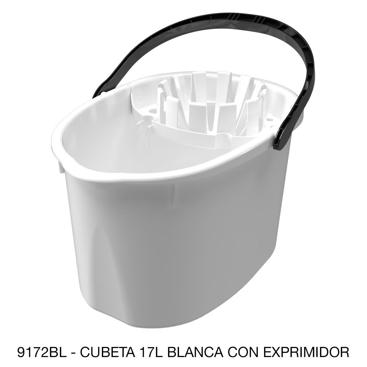 Cubeta de 17 litros con exprimidor color blanco modelo 9172BL de Sablón