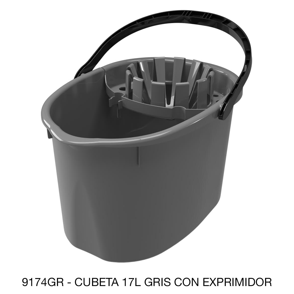 Cubeta de 17 litros con exprimidor color gris modelo 9174GR de Sablón
