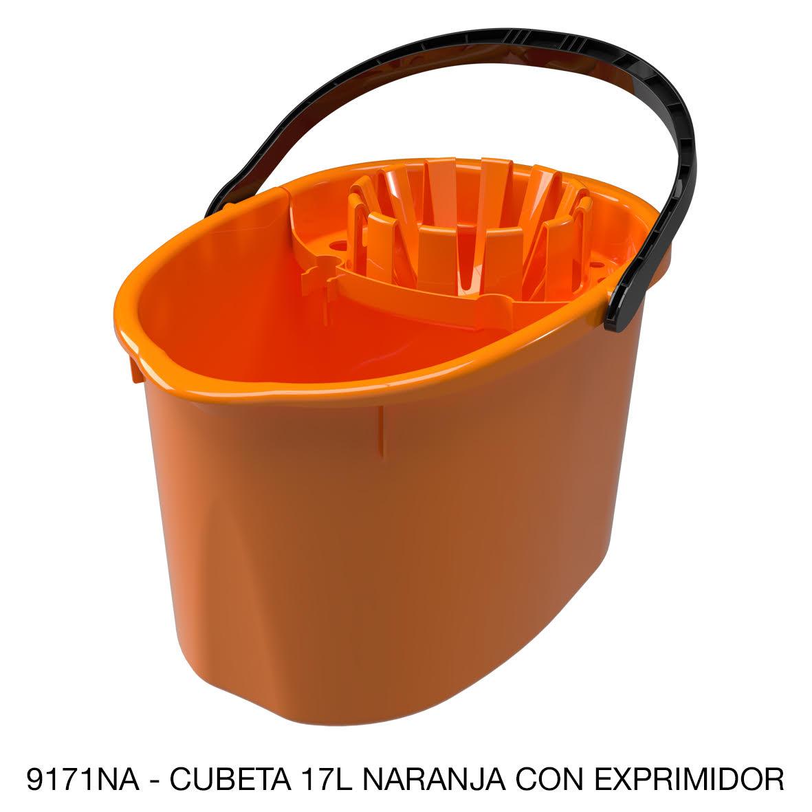 Cubeta de 17 litros con exprimidor color naranja modelo 9171NA de Sablón