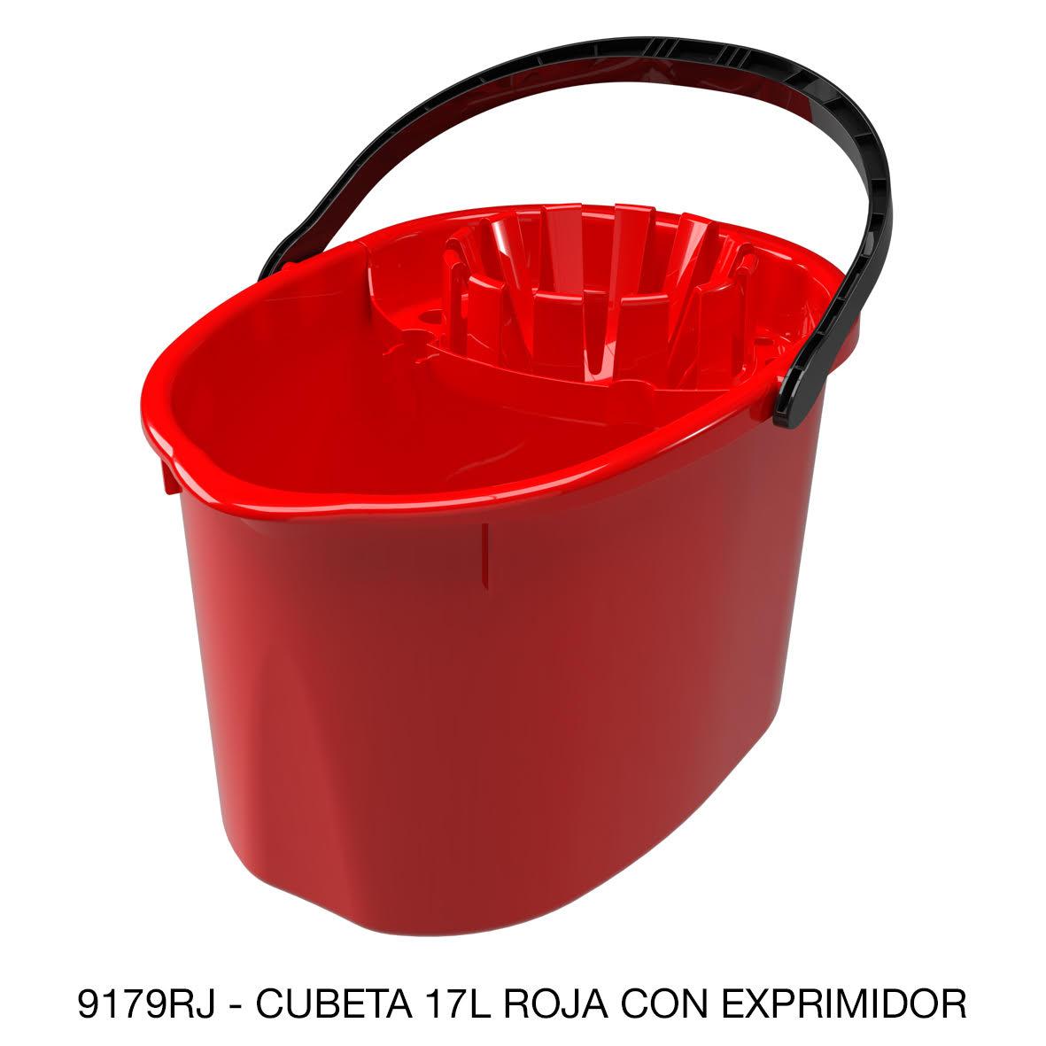 Cubeta de 17 litros con exprimidor color rojo modelo 9179RJ de Sablón