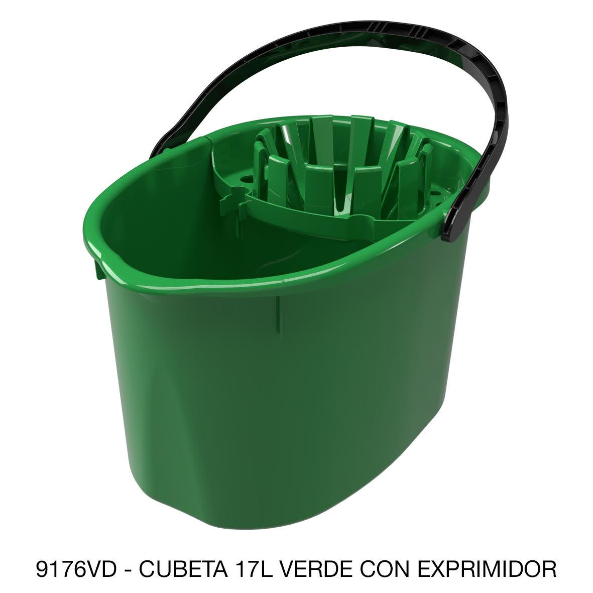 Cubeta de 17 litros con exprimidor color verde modelo 9176VD de Sablón
