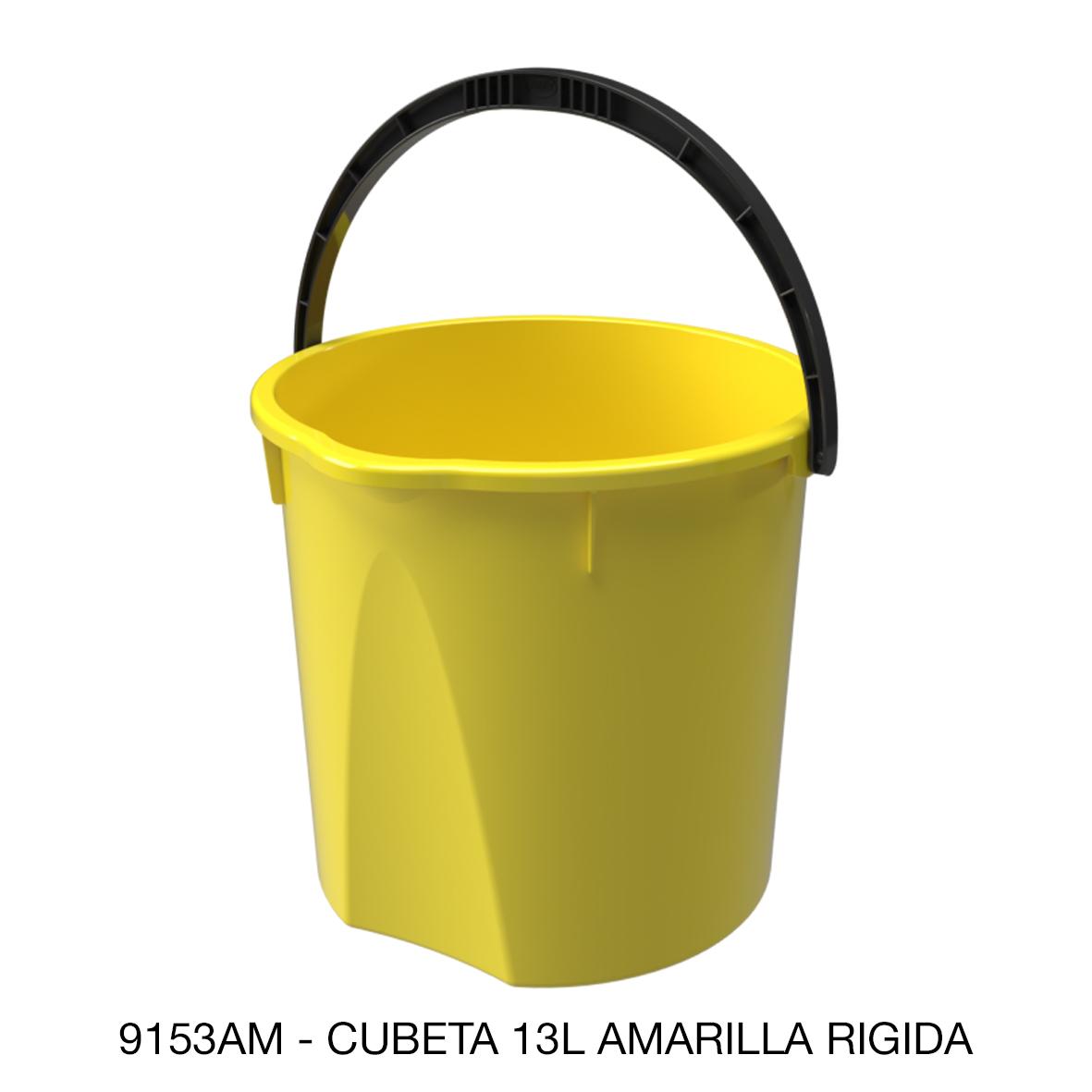 Cubeta rígida de 13 litros color amarillo modelo 9153AM de Sablón