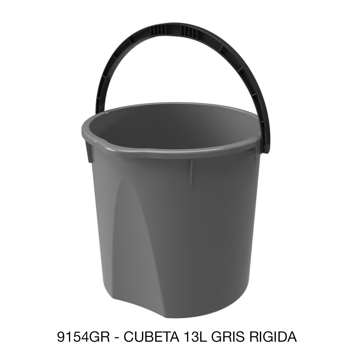 Cubeta rígida de 13 litros color gris modelo 9154GR de Sablón