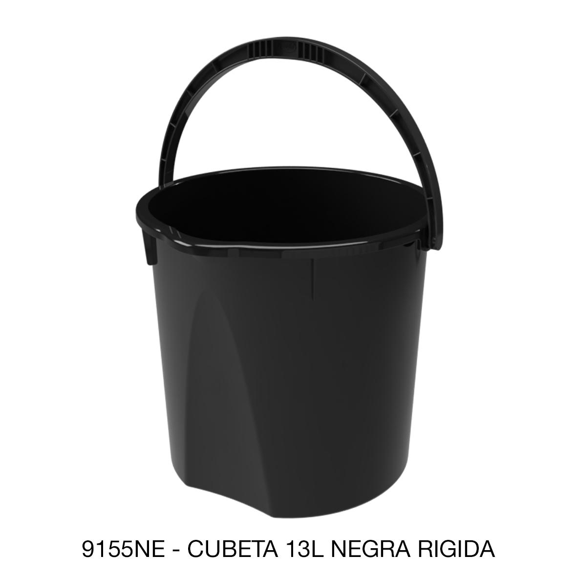 Cubeta rígida de 13 litros color nero modelo 9155NE de Sablón