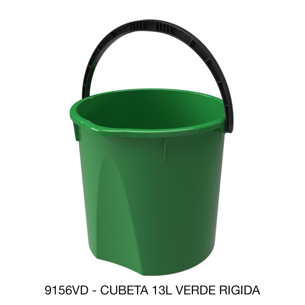 Cubeta rígida de 13 litros color verde modelo 9156VD de Sablón