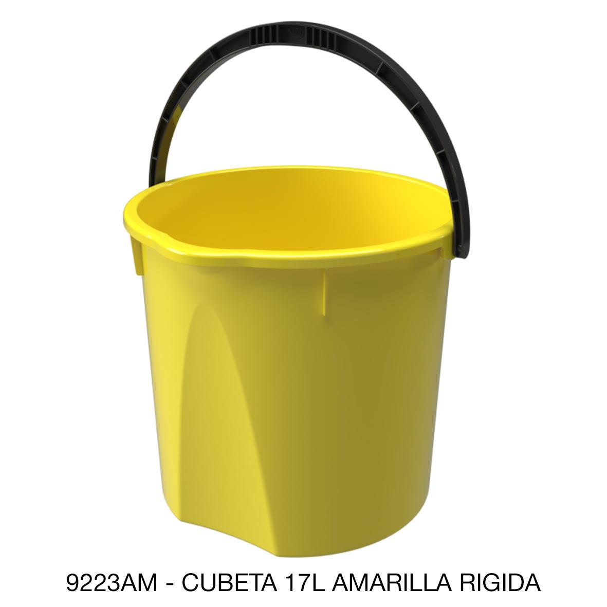 Cubeta resistente de 17 litros rígida color amarillo modelo 9223AM de Sablón