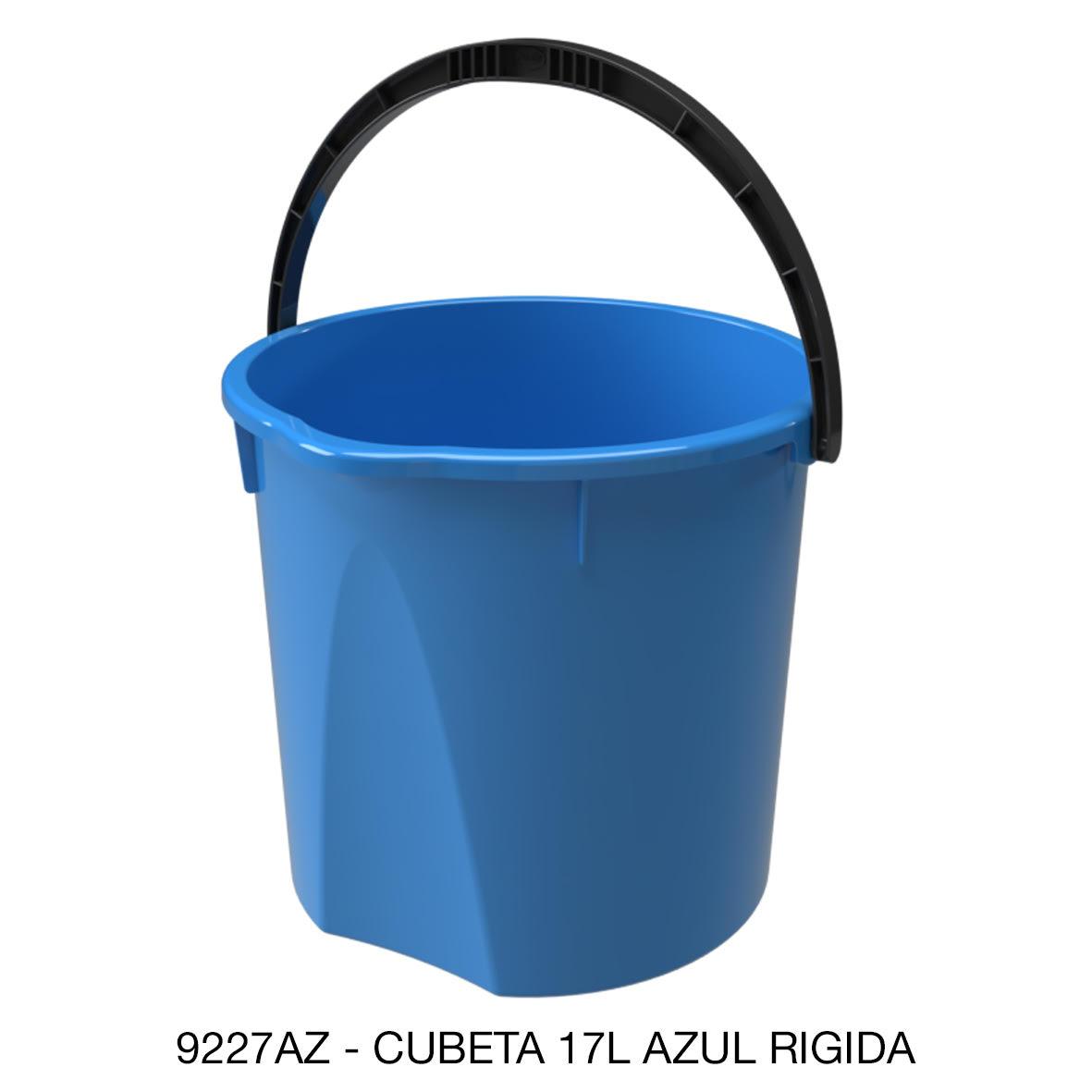 Cubeta resistente de 17 litros rígida color azul modelo 9227AZ de Sablón
