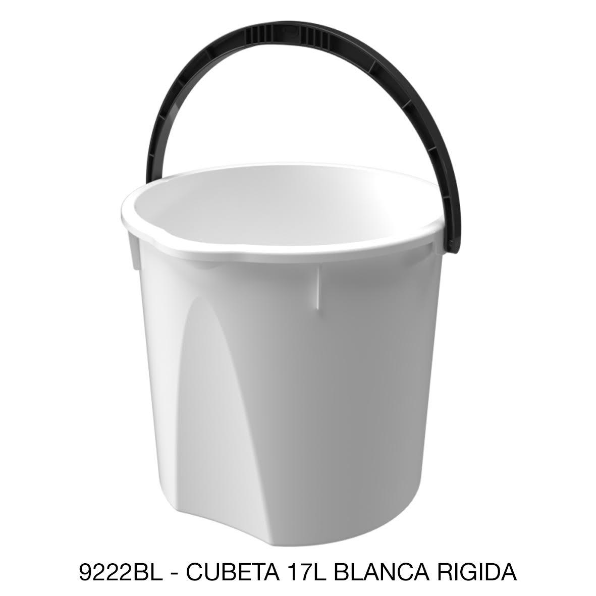 Cubeta resistente de 17 litros rígida color blanco modelo 9222BL de Sablón