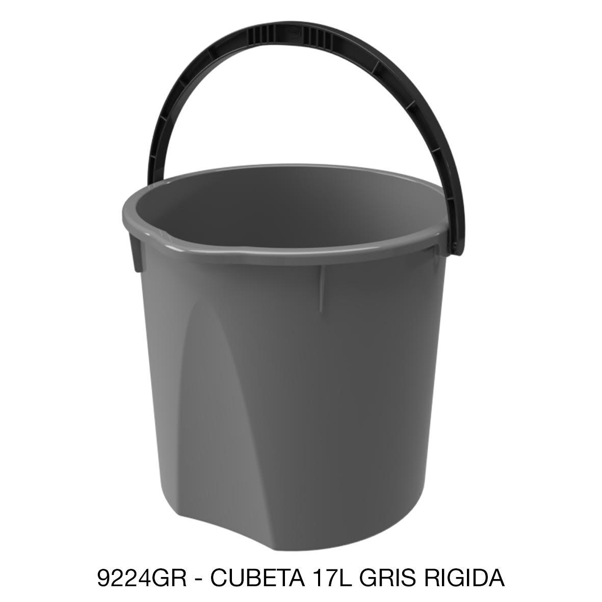 Cubeta resistente de 17 litros rígida color gris modelo 9224GR de Sablón